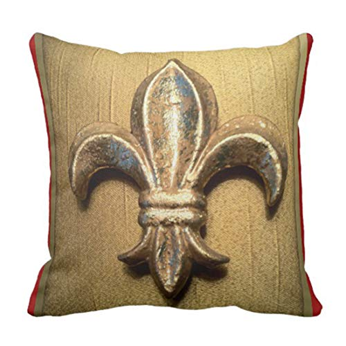 lucies Throw Pillow Cover Gold Golden Fleur De Lis Against Dark Red Decorative Pillow Case Home Decor Square 18'' X 18'' Pillowcase