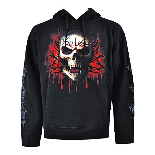 Spiral Direct Hommes 'Game Over' Sweatshirt Hood Top Noir M (107-117cms)