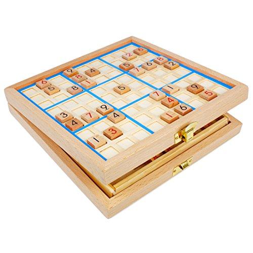 Andux Zone Sudoku Brett Kasten 3-in-1 hölzerne Zahl Platz Spielzeug SD-03 (Blau)