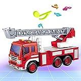 JY&WIN Camión de Bomberos a Control Remoto Radio Control Remoto Rescate RC Camión de Bomberos con Sirena de luz y Escalera de extensión El Mejor Juguete para niños y niñas de 3 a 12 años