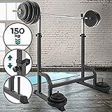 Physionics Stabile Supporto per Pesi - con Un Carico Massimo di 150 kg - Dimensioni: 178/110/100 cm - Peso: 19,65 kg, Colore: Nero