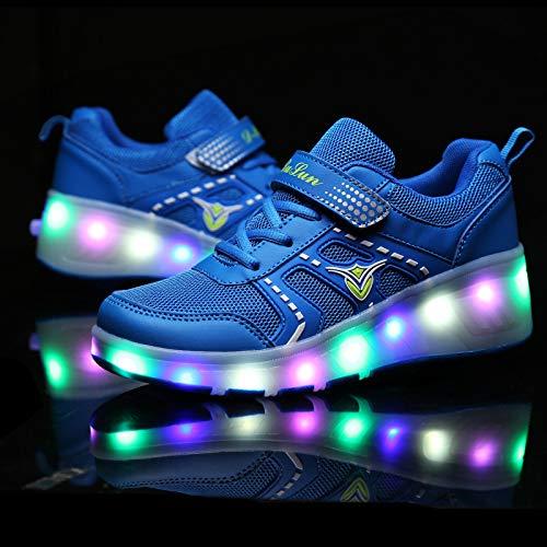 YURU Mode LED Heelies Schuhe Breathable Kinder-Zwei-Rad-Schuhe Abnehmbare Kinder Single Wheel Roller Skates,Blue-EU35