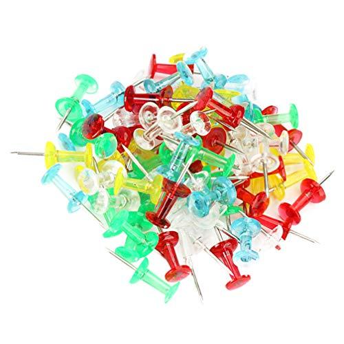 Toyvian 300Pcs Alfileres de Empuje Prácticos Tachuelas de Mapa de Cabeza de Plástico Transparente Chinchetas de Mapa Alfileres de Dibujo para Empresa Escolar de Oficina (Color Aleatorio)