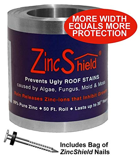 "ZincShield Pure Zinc Strip to Avoid Ugly Roof Stains from Moss, Algae, Fungus, and Mildew, 50 Foot Roll - Includes Bag of Nails - Made in The USA (3.5"")"