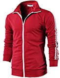 H2H Mens Slim Fit Basic Zip-up Long Sleeves Training Jacket RED US L/Asia XL (CMOJA0103)...