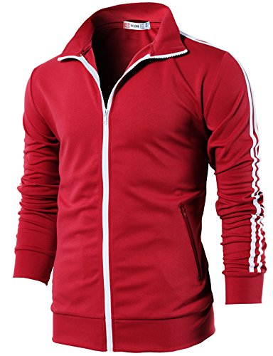 H2H Mens Slim Fit Zip-up Long Sleeves Training Jacket RED US XL/Asia 2XL (CMOJA0103)