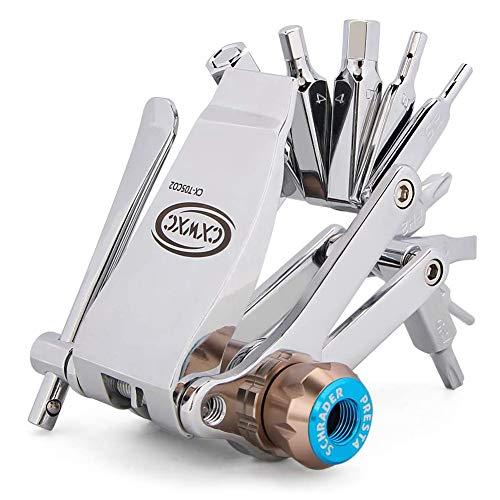 CXWXC Fahrrad Werkzeugset 16 in 1 Multifunktion Reparatur Set Reifenheber Kettenwerkzeug Innensechskantschlüsseln Mini Reparaturset Fahrrad für Mountainbikes und Rennräder…