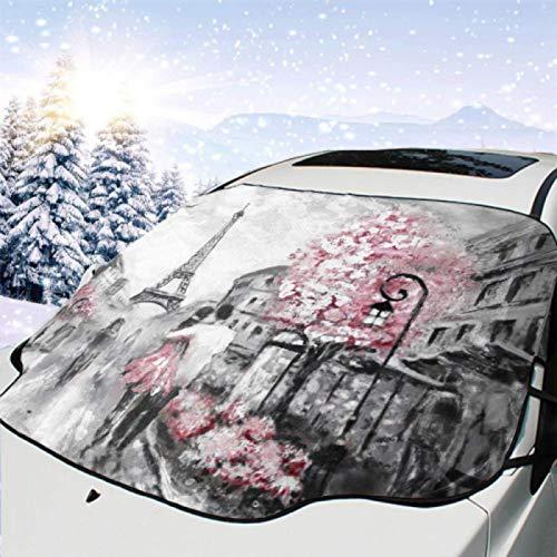 JONINOT Visera de sombrilla automática para Parabrisas Delantero Impermeable Pintura al óleo Street View Paris European Protector protección contra heladas Invierno vehículos