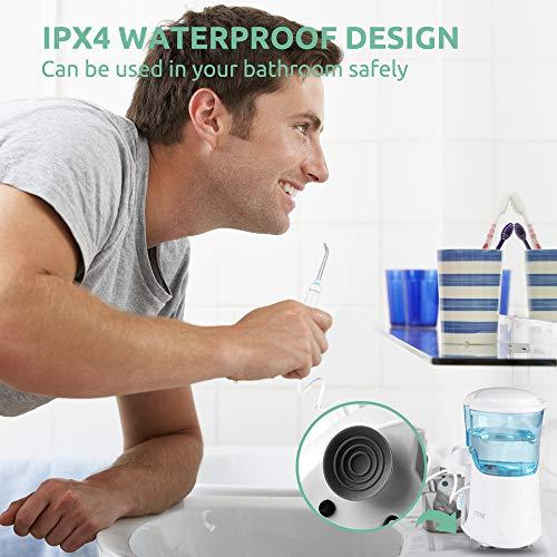 Irrigador Bucal, Cozzine Irrigador Dental Profesional con 9 Boquillas, 600ml, 30-120 PSI con el Botón de la Pausa,10 Ajustes de Presión del Agua, Irrigador de Agua Oral