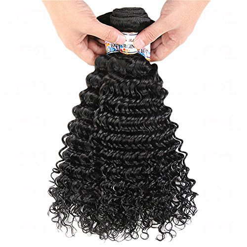 SUNWUKONG Remy Humain Vierge Cheveux Tissage Qualité 8A Brésilien Naturel Noir Couleur Profond Vague Cheveux Extensions 100% Réal Humain Cheveux 1b Cheveux Trame 1 Bundle 100g, 18\