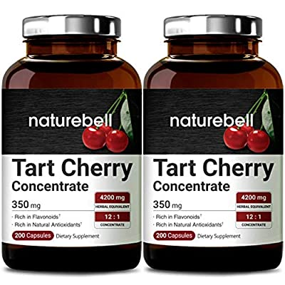 2 Pack NatureBell Organic Tart Cherry Concentrate 350mg as 4200mg Strength, 200 Capsules, Natural Flavonoids and Antioxidants, No GMOs, Made in USA