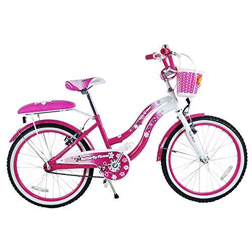 "star kids Bicicletta per Bambina 20"" 2 Freni Butterfly Flower Rosa"