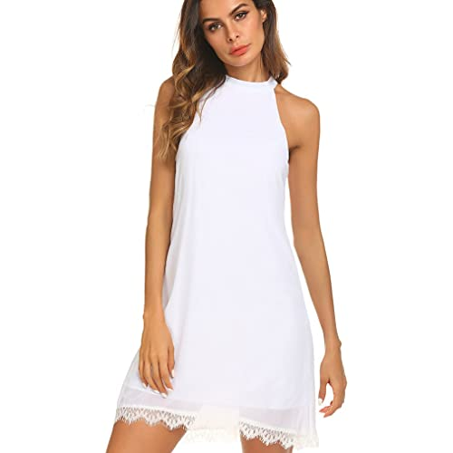 466faefade Kancystore Women's Casual Sleeveless Halter Lace Hem Mini Chiffon Dress
