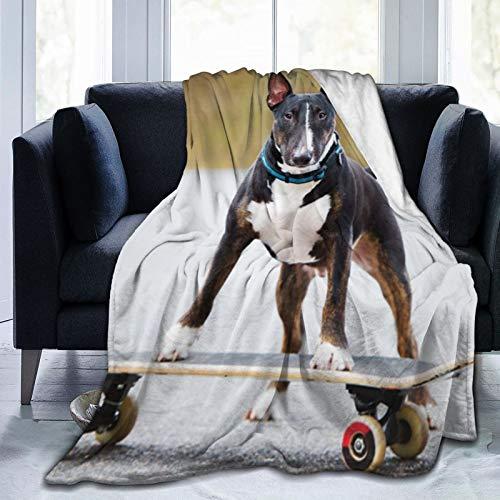 Englischer Bullterrier-Hund auf Skateboard-Wurfdecke Ultraweiche Micro-Fleece-Decke, leichte warme Bettdecke 50