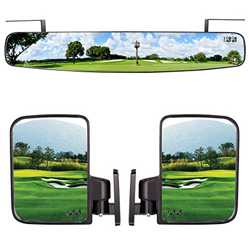 """10L0L Newest Golf Cart Folding Side Mirrors and Rear View Mirror 16.5"""" Extra Wide Panoramic Golf Cart Mirrors Fits for Club Car EZGO Yamaha Combo Pack"""