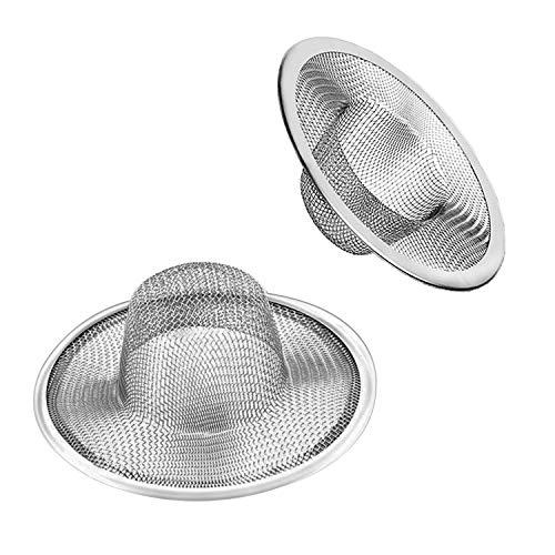 2pcs Heavy Duty Stainless Steel Slop Basket Filter Trap, 2.75 Top / 1 Mesh Metal Sink Strainer,Perfect for Kitchen Sink/Bathroom Bathtub Wash basin Floor drain balcony Drain Hole,Utility