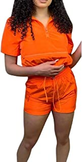 FSSE Women's Casual Zipper Solid Short Sleeve T-Shirt & Shorts 2 Pieces Outfit