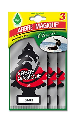 Arbre Magique, Profumatore Auto, Fragranza Sport, Profumazione Intensa e Strutturata, Durata fino a 7 Settimane, Made in Italy, Formato Multipack da 3 Pezzi