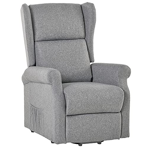 HOMCOM Electric Lift Chair Stand Assist Recliner Armchair Sofa Comfortable Padded Linen Fabric Functional w/Remote Control Versatile Use - Grey