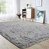 junovo Ultra Soft Area Rugs 4 x 5.3ft Fluffy Carpets for Bedroom Kids Girls Boys Baby Living Room Shaggy Floor Nursery Rug Home Decor Mats, Grey