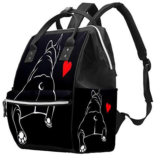 Mumien-Wickeltasche, Rucksack, Zeichnung, Hund, Herz, multifunktional, wasserdicht, Windel, Reiserucksack für Babypflege