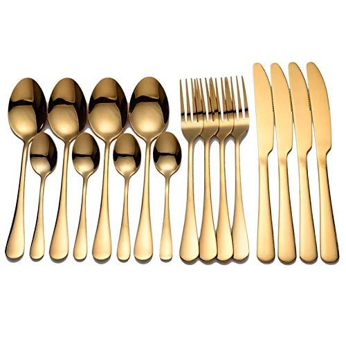 ACAMPTAR Vajilla Cubiertos Dorados Tenedor Cuchara Juego de Cuchillos Vajilla Dorada Juego de Vajilla de Acero Inoxidable