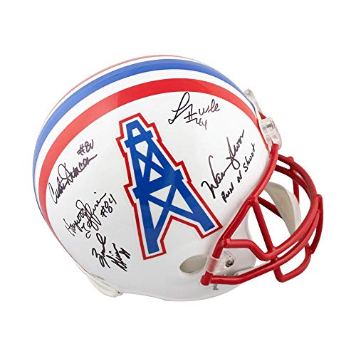 Run N Shoot Autographed Houston Oilers Full-Size Football Helmet - BAS (Red Facemask)