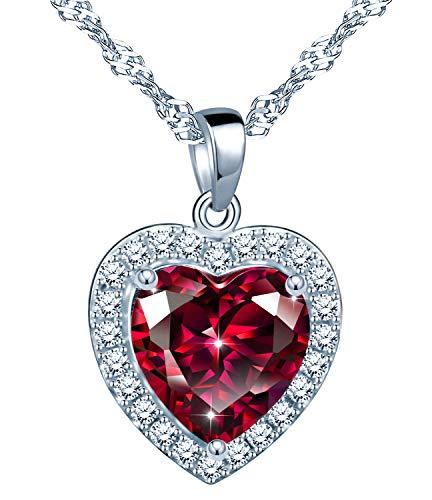 Yumilok Collana da donna con ciondolo a forma di cuore in argento Sterling 925, con zirconi, idea regalo per donne, Argento sterling Zirconia cubica,