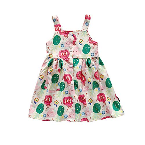 dontdo Falda floral para niños de algodón sin mangas de verano de moda para niños niñas dibujos animados flor impresión correa vestido # A 120 cm