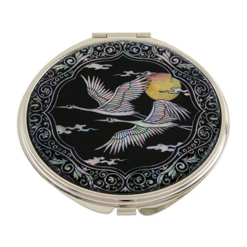 Mother of Pearl Bird and Yellow Moon Design Double Compact Magnifying Cosmetic Makeup Purse Beauty Pocket Mirror by Antique Alive
