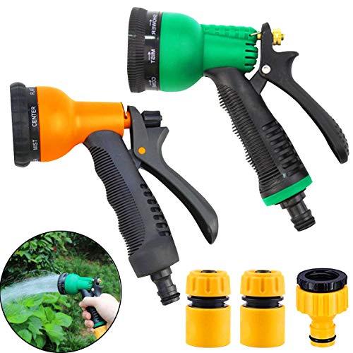 Osuter Pistola de Riego, 2PCS Pistola de Agua de Jardín con 8 Modos de Ajustable Pulverización con 3PCS Adaptador de Grifo de Manguera para Coches Riego de Jardín Limpiar