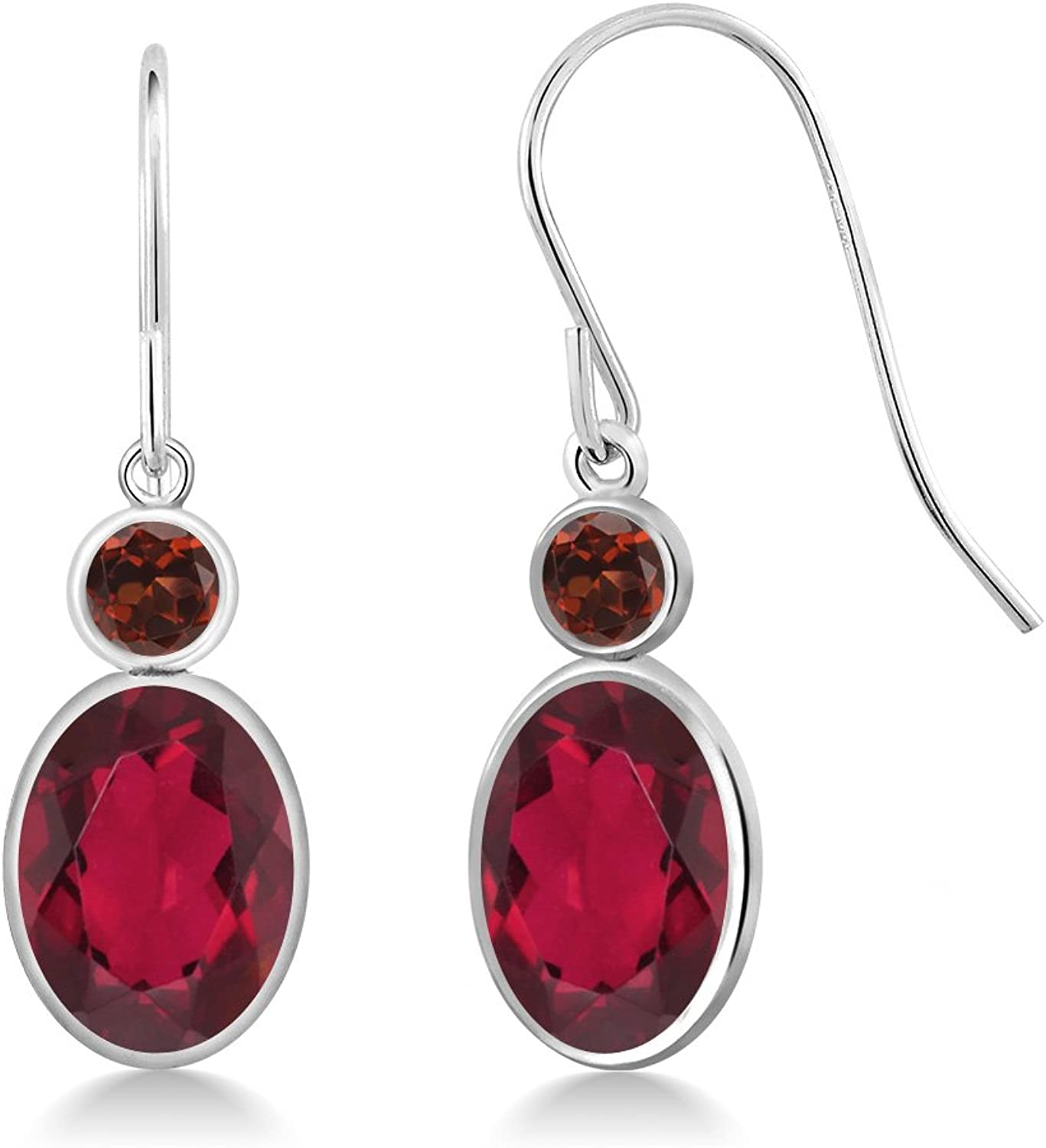 3.44 Ct Oval Red Mystic Topaz Red Garnet 14K White gold Earrings