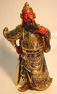 Feng Shui Import Golden Kwan Kong, Guan Gong, Guan Yu, Kuan Kong, Kong Chang w/Guan Dao Sword