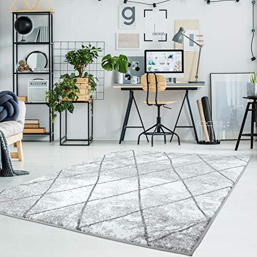 carpet city Teppich Flachflor Moda Modern Meliert Geometrisches Muster, Raute-Optik Grau Wohnzimmer; Größe: 190x280 cm