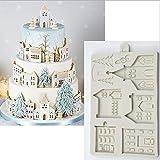 Molde de silicona para decoración de tartas, diseño de casita de jengibre, para fondant, herramientas de decoración de tartas, chocolate, pasta de gomas, azucarería, utensilios de cocina
