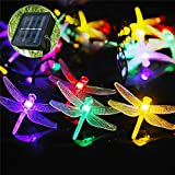 50 Dragonfly Lights String Solar String Lights Indoor Outdoor Decorative Colorful Lights Garden Yard Decoration Waterproof Dragonfly String Lights with Solar Panel