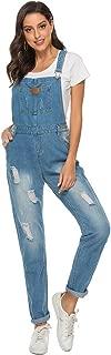 ezShe Women's Ripped Boyfriend Denim Bib Overalls with Pocket