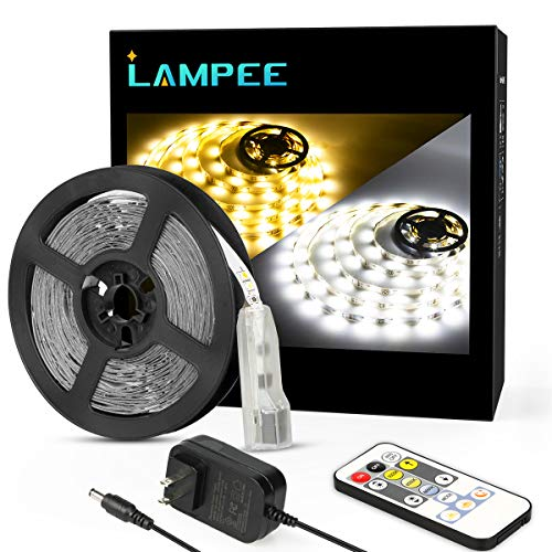 Dimmable LED Strip Lights, Lampee 16.4ft Daylight / Warm White Mirror Lights for Vanity Table 3000-6000K with 12V Power Supply Non-Waterproof for Kitchen, Bedroom, Under Cabinet