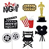 Movie Night Cupcake Toppers Decoration Hollywood Party Favors Food Picks Supplies Pack of 24 Glitter Movie Cake Toppers