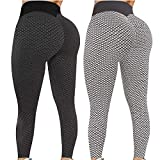 Pack 2 Push Up Leggings para Mujer, Cintura Alta Mujer Malla Celular Pantalón de Yoga Leggings, Butt Lifter Anti-Cellulite Deportivos Yogapants para Yoga Pilates Fitness (L, S)