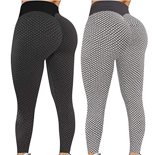 Pack 2 Push Up Leggings para Mujer, Cintura Alta Mujer Malla Celular Pantalón de Yoga Leggings, Butt Lifter Anti-Cellulite Deportivos Yogapants para Yoga Pilates Fitness (L, M)
