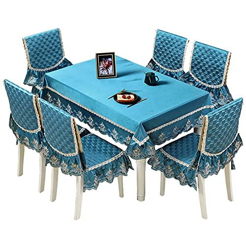 Fundas de Sillas de Comedor Cubiertas de silla de bordado Conjunto de 6 - rectángulo mantel de ajuste de la mesa de arrugas, decoración de la mesa de cena de cocina, tapa de tela lavable Protectoras p
