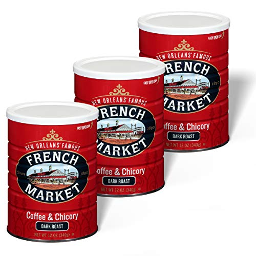 French Market Coffee City Dark Roast Ground Coffee & Chicory 12 Ounce Canister (Pack of 3)