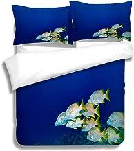 MTSJTliangwan Family Bed Schoolmaster Snappers 3 Piece Bedding Set with Pillow Shams, Queen/Full, Dark Orange White Teal Coral