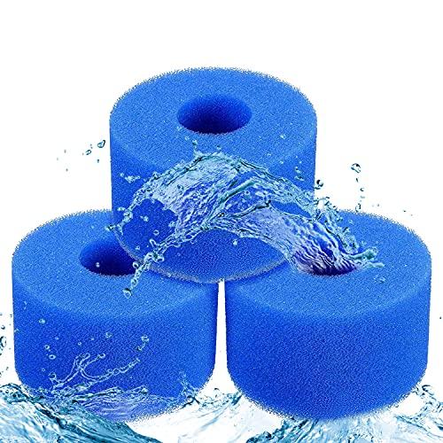 THEXIU Filtro de Espuma, Filtro de Espuma para Piscina, 3 Piezas Esponja de Filtro de Acuario, Esponja de Filtro Reutilizable Lavable 75 * 105mm para Piscina Acuario Bañera De Hidromasaje