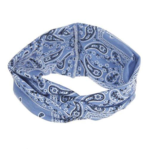 Preisvergleich Produktbild Trada Stirnbänder,  Frauen Yoga Sport Elastic Floral Haarband Stirnband Turban verdreht verknotet Blume Gedruckt Baumwolle Gestrickte Verdrehte Weiche Turban Kopf Verpackungs (Blau)