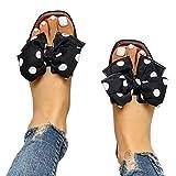Aniywn Women Flat Sandals Slides Bowknot Slip On Open Toe Sandals Slipper Bohemian Flip Flops Slippers Sandals Black