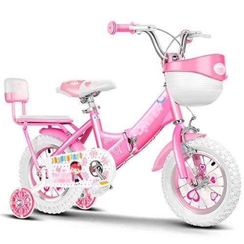 GAIQIN Durable Bicicleta para niños Rosa, Bicicleta de la Ciudad Plegable, para niñas y niños de 2 a 12 años, Ruedas de Entrenamiento extraíbles, Frenos de Mano y Cesta (Color : B, Size : 18inch)