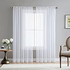 Sheer Voile window treatments look great in any style of home, be it traditional or modern farmhouse, offering a lightweight, airy feeling that softens the ambience of a room. Add a pop of solid color in between embroidered curtains for your living r...