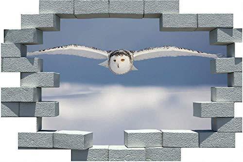 AUUUA Wandtattoos 3D Cracked Brick Wandaufkleber Schneeeule Winter Poster Wandtattoos Selbstklebende PVC wasserdicht für Wohnzimmer Schlafzimmer Dekoration